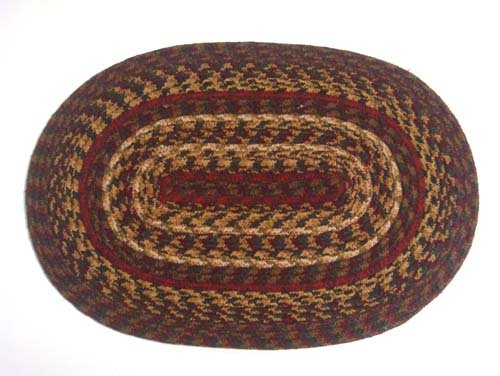 IHF Home Decor Cinnamon Jute Braided Rug Oval Placemat 13 x 19 Inch Set of 4