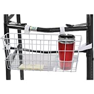 HealthSmart Universal Walker Storage Basket with Plastic Insert Tray and Cup Holder, No Tools Needed, White