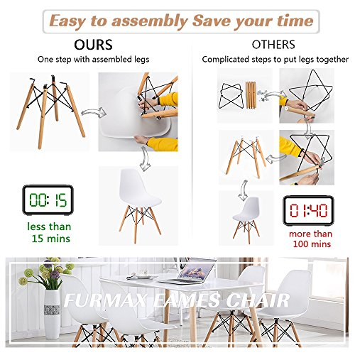 Mid Century Modern Style Pre Assembled White Eames Dining Chair Effiel Modern DSW Chair, Shell Lounge Plastic Chair for Kitchen, Dining, Bedroom, Living Room(Set of 4)