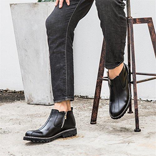 in Uomo MSKAY MEN Lavoro Vintage SHOES Pelle Stivaletti Zip Stivali Stivali Nero 66gInFrwq