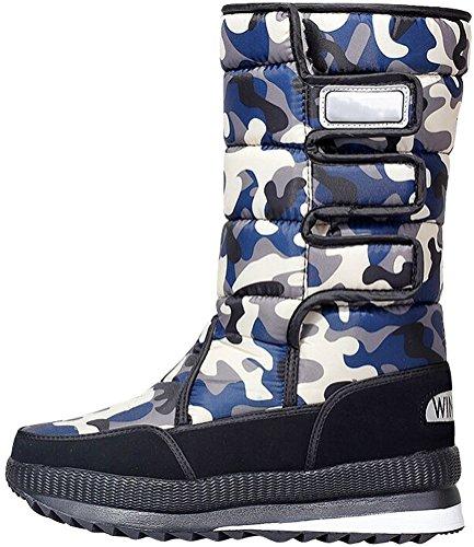 Stivale Da Neve Donna Satuki, Metà Inverno Alto Caldo Faux Suede Pelliccia Moda Casual Stivali Blu-camouflage