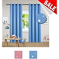 SGOFAIS Blackout Curtains With Foil Print Silver Stars...