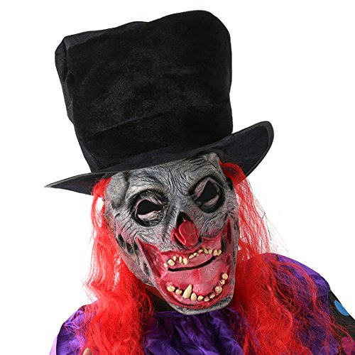 YUFENG Scary Zombie Clown Mask Horror Demon Werewolf Halloween Costume Cosplay Props]()