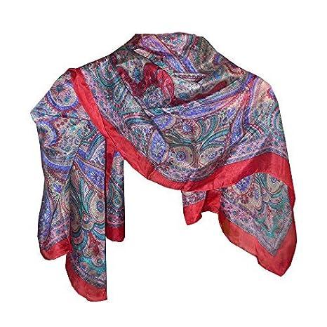 Foulard soie rouge motif paisley 100x100cm Tissu Accessoire Vêtement ... 343d42e09ab