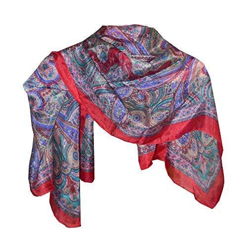 Pañuelo seda rojo 100x100cm estilo cachemira paisley fular accesorio India   Amazon.es  Ropa y accesorios b6f3077bcaf