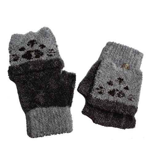 Amiley baby gloves , Girls Boys Winter Fingerless Gloves Mitten (Gray)