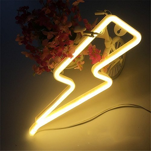 Neon Lightning Bolt Neon Sign Wall Neon Light, LED Indoor Decor Night Lamps, Neon Light Sign Decor for Wedding Birthday Party Bedroom Table Gift Kids Toys Decor Decorations Valentines Christmas Gift