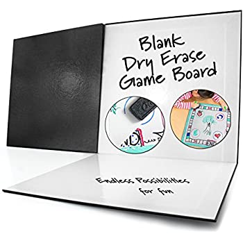 "Blank Game Board Dry Erase Folding (18"" x 18""); Classic Black Cover"