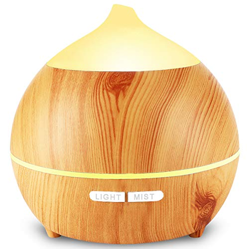 Essential Oil Diffuser Wood Grain 250ml Advanced Cool Mist Humidifier Aromatherapy Aroma Diffuser Ultrasonic Humidifier 7 Color LED Waterless Auto-off for Home,Office,Yoga,Baby,Sleep