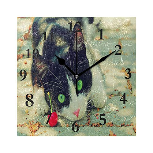 FunnyCustom Square Wall Clock Domineering Cat for Valentine'