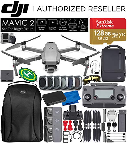 DJI Mavic 2 Pro 2 Drone Quadcopter with Hasselblad Camera Adjustable Aperture 20MP 1 CMOS Sensor and SanDisk Extreme 128GB MicroSDXC UHS-I Card with Fly More Combo Kit Essential Bundle