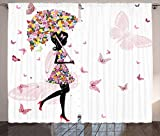 Ambesonne Feminine Curtains, Girl with Floral Umbrella and Dress Walking with Butterflies Inspirational Art, Living Room Bedroom Window Drapes 2 Panel Set, 108 W X 84 L Inches, Black and Pink