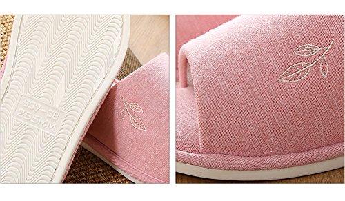 Vwu Unisex Donna Uomo Morbido Anti Scivolo Foglia Cotone Casa Coperta Pantofole Rosa
