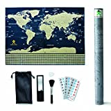 detailed map of usa - Scratch Off Map Of The World With States – Detailed World Map Includes US States and All Country Flags - Perfect Gift for Travelers with Accessories Set - Large Size 32¼ x 23½ inches by Mode Relax