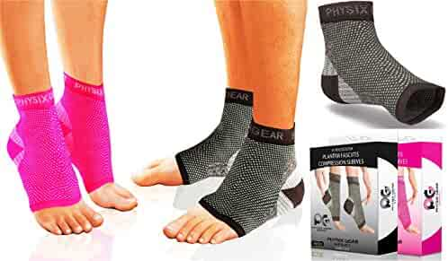 Physix Gear Plantar Fasciitis Socks Arch Support Men & Women - Best 24/7 Compression Foot Sleeve Aching Feet & Heel Pain Relief - Washes Well, Holds Shape & Better Than a Night Splint