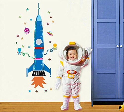 ufengke® Cartoon Rocket Spaceship and Extraterrestrial DIY Height Chart Decals(80-170cm)(31in-60in), Children's Room Nursery Removable Wall Stickers Murals - Baby Rocket Ship