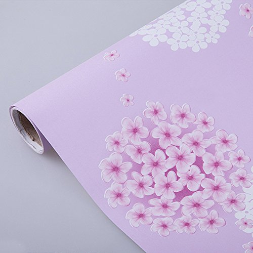 SimpleLife4U Removable Shelf Liner Self-adhesive Drawer Covering Contact Paper 17x118 Inch Pink Jasmine