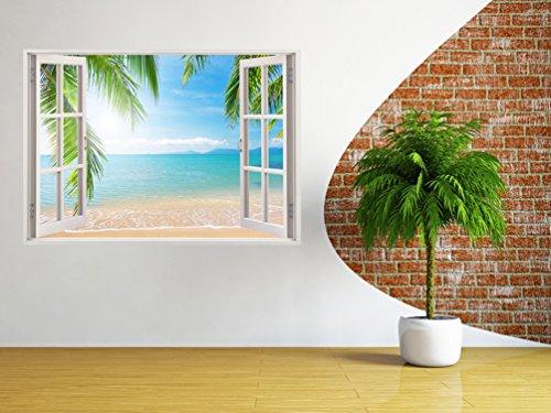 3D Depth Illusion Vinyl Wall Decal Sticker, Window Frame Style Home Décor Art Removable Wall Sticker, 85 X 115 CM (Ocean Sea Seascape Palm Trees Beach View)