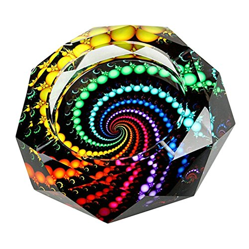 YANXUS Cigarette Ashtray Ash Holder Case-Creative Crystal Colorful Beads Cigarette Ashtray for Indoor or Outdoor Use Ash Holder for Smokers Desktop Smoking Ash Tray for Home Office - Ashtray Crystal