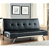 Coaster 500139 Home Furnishings Bluetooth Sofa Bed with Built In Speakers, Black Premium Bonded Leather