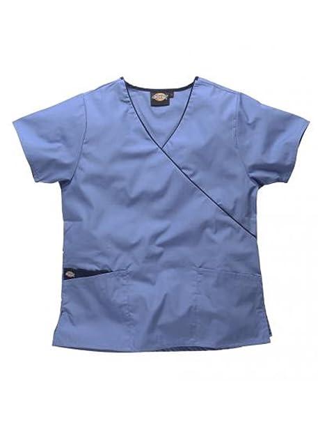 c481e2b999123 Dickies Mujer camisa medica ultra cómodo cuello  pico-Colores-Rosa Morado Verde Blanco Azul Negro-  Profesiones-Dentista Enfermera Veterinario  Medico  ...