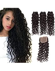 Brazilian Water Wave Bundles With Closure Healthy And Soft 10A Virgin Human Hair Bundles With Closure Swiss Top Lace Closure Natural Black Color By Alipop (16 & 18 & 20 & Closure 14, Natural Color)