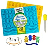Gummy Bear Mold Silicone (Yellow, Blue) - Set of 2 for 86 Candies - 5 Different Types of Animals – Dropper Included – Candy Molds, Gummy Worm Mold, Chocolate Molds, Gelatin Molds, Ice Cube Trays