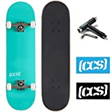 CCS Skateboard Complete - Color Logo and Natural Wood - Fully Assembled - Includes Skateboard Tool and Stickers (Mint Green, 7.0 (Mini/Kid's Size))