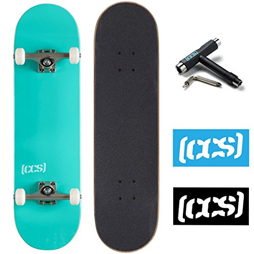 CCS Logo and Natural Wood Skateboard Completes - Fully Assembled (Mint Green, 7.75) - Maple Complete Skateboard
