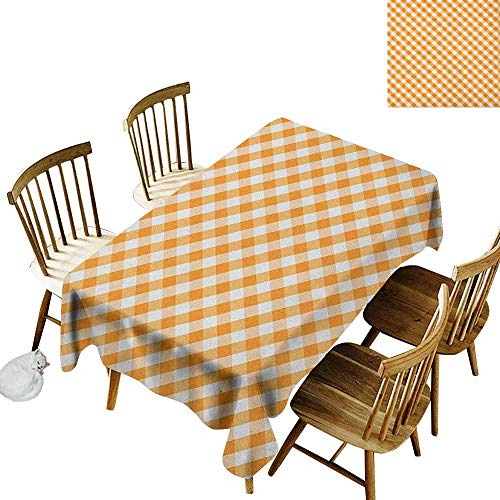 DONEECKL Checkered Leakproof Tablecloth Suitable for Buffet Table Cross Weave Gingham Pattern in Orange and White Old Fashioned Classical Tile Orange White W52 xL70