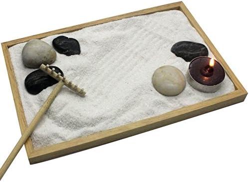 musykrafties jardín Zen Meditación Kit, Incluyen Pulido Piedras, Arena, Placa, Vela, rastrillo: Amazon.es: Hogar