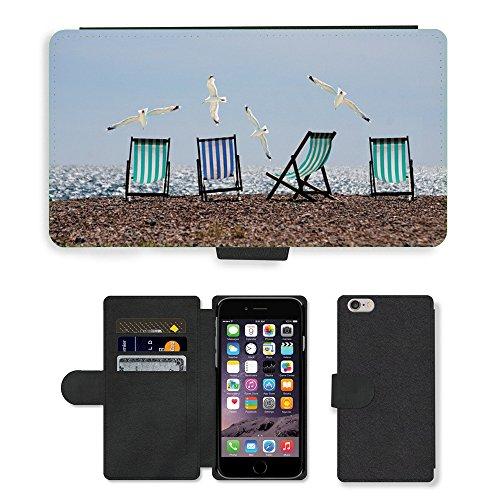 "PU Leather Cover Custodia per // M00421563 Summer Beach Seagulls Transats mer // Apple iPhone 6 PLUS 5.5"""