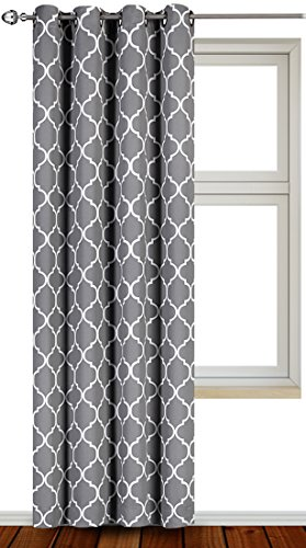 Blackout Room Darkening Curtains Window Panel Drapes - 1 Panel, 52 inch wide by 84 inch long each panel, 8 Grommets / Rings per panel, 1 Tie Back included - by Utopia Bedding (Grey/White)
