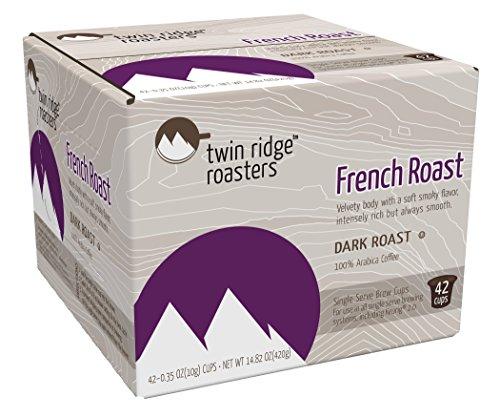 Twin Ridge Roasters Dark Coffee Single Serve Brew Cups, French Roast, 42 Count