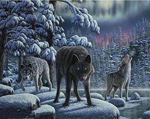 YEESAM ART DIY Paint by Numbers for Adults Beginner Kids, Snow Wolves Howling Forest Aurora 16x20 inch Linen Canvas Acrylic Stress Less Number Painting Gifts (Wolves, Without Frame) -