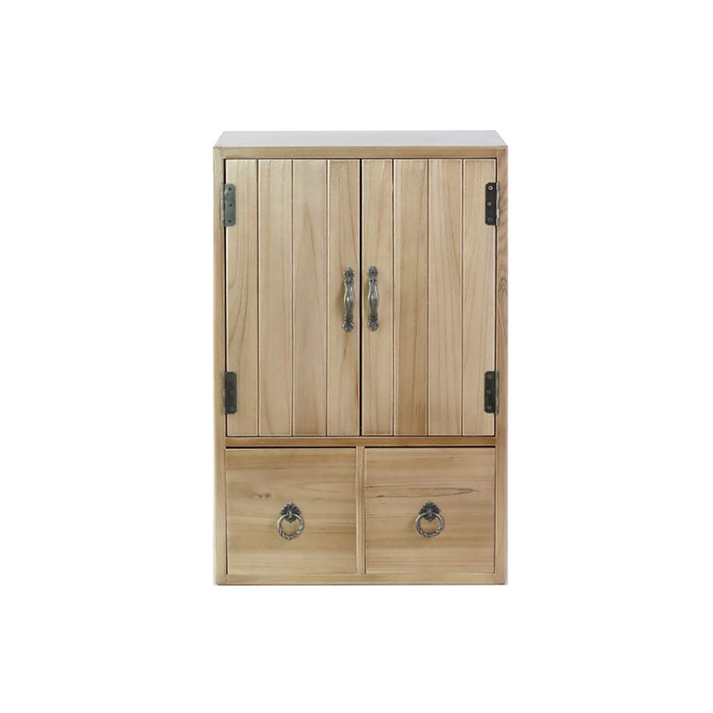 Solid Wood Storage Shelf File Cabinet Small Furniture Side Cabinet Small Book Cabinet 38x30x57cm (Color : B) by QSJY File Cabinets