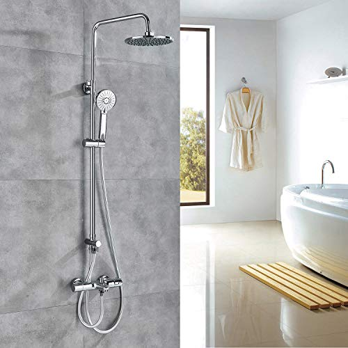 Rozin Exposed Bathroom Thermostatic Shower Faucet Set 8-inch Rainfall Showerhead + Tub Tap + Hand Spray Chrome -