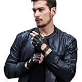 GSG Mens Perforated Knuckle Fingerless Motorcycle Gloves Black Deerskin Half Finger Driving Gloves Backless Nice Gifts 9.5