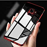 MobiTussion Sleek Anti Slip 0.3mm Hi-Out for Camera Protection Transparent Electroplating TPU with Blue Plating Case Cover for Samsung Galaxy A8 Plus (Red)