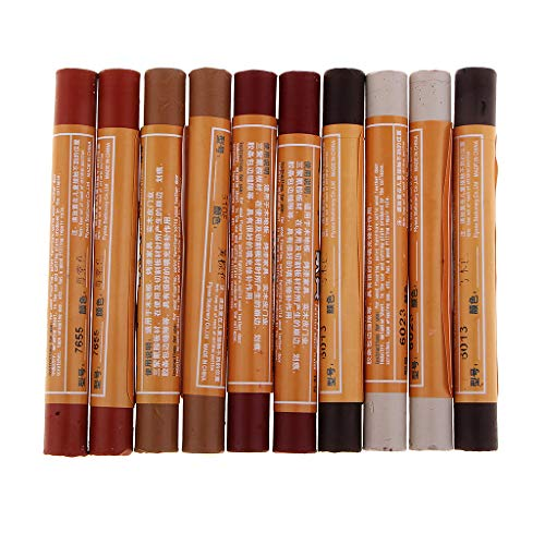 Fityle 10 Pieces Pro Classic Color Furniture Markers Touch Up Repair Crayons Scratch Restore Wax Sticks: Sandybrown, Cherry, Mahogany, Light Gray, Ebony