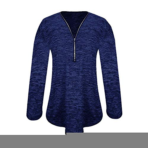 V Vtement Mode Shirt Blouse SANFASHION Bleu Casual Zippe Col Manche Tunique Longue 1IUxFq