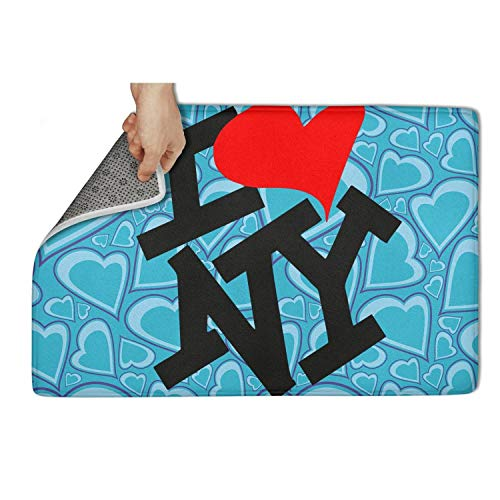 ERLFDDCQ I-Heart-NY-I-Love-New-York- White Door mat Rugs Non Slip Non-Slip Door Mat for Front Printted Waterproof Cool Bathroom 23.5