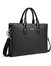 Leather Lawyers Briefcase Shoulder Laptop Business Slim Bags for Men & Women