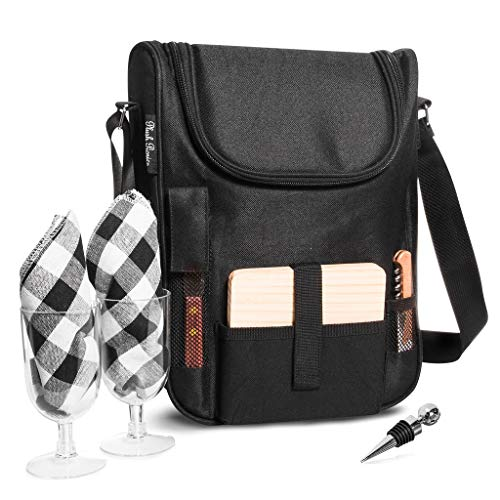 Insulated Travel Wine Tote Bag: Portable 2 Bottle Wine and...