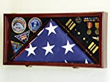 Large Flag & Medals Military Pins Patches Insignia Holds up to 5x9 Flag Display Case Frame Cabinet Shadowbox (Cherry Finish)