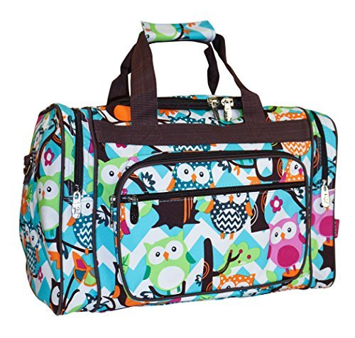 NGIL Owl Teal Blue Small Duffle Bag (Brown)