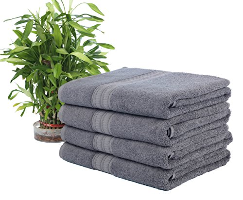 "Ariv Collection Premium Bamboo Cotton Bath Towels - Natural, Ultra Absorbent and Eco-Friendly 30"" X 52"" (Coal)"