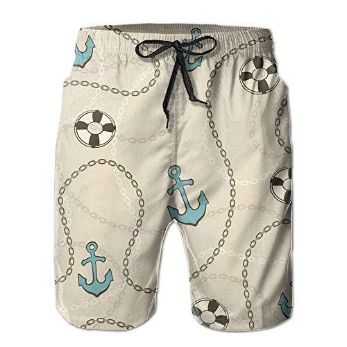 New Sailor Pattern Men's Swim Trunks Summer Suit Pockets ()