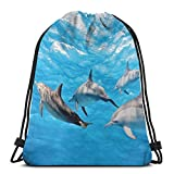 Juziwen Printed Drawstring Backpacks Bags,Underwater Photography Of Dolphins Happily Swimming Ocean Animal Life Image Print,Adjustable String Closure