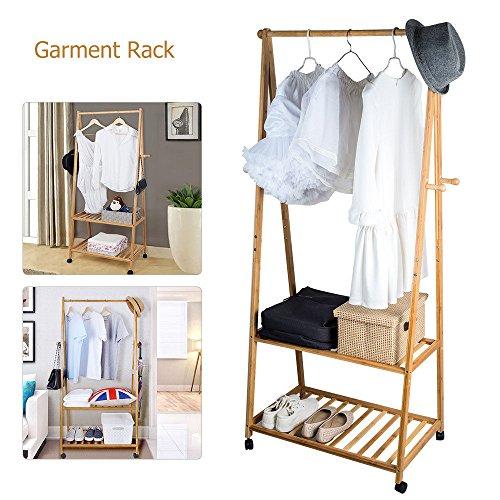 TopHomer Clothes Coat Garment Hanging Rack Rail Bamboo Storage Double Stand 4 Castors 4 Hooks for Cloakroom Locker room Coatroom Hallway Bedroom